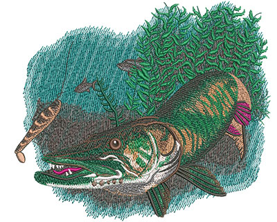 Embroidery Design: Musky Chase Lg 7.96w X 6.83h