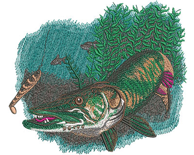 Embroidery Design: Musky Chase Med 6.96w X 5.99h