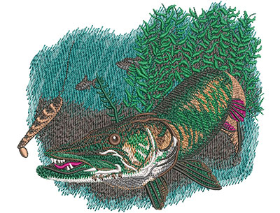 Embroidery Design: Musky Chase Sm 5.96w X 5.11h