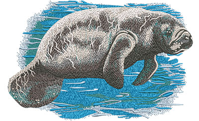 Embroidery Design: Manatee Lg8.01 w x 5.21 h