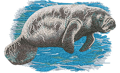 Embroidery Design: Manatee Sm6.02 w x 3.92 h
