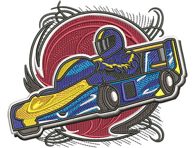 Embroidery Design: Go Cart Racer Lg4.51w x 3.69h