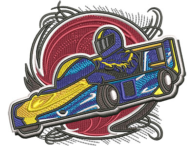 Embroidery Design: Go Cart Racer Med4.01w x 3.28h