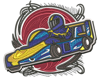Embroidery Design: Go Cart Racer Sm3.51w x 2.87h