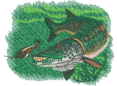 Embroidery Design: Muskie Lg4.61w x 3.57h