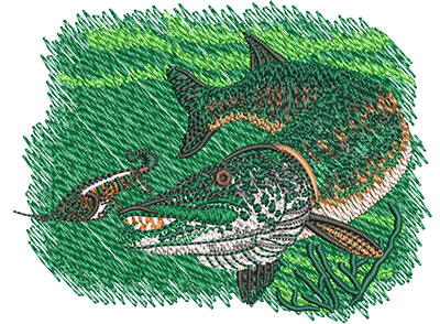 Embroidery Design: Muskie Sm3.62w x 2.78h
