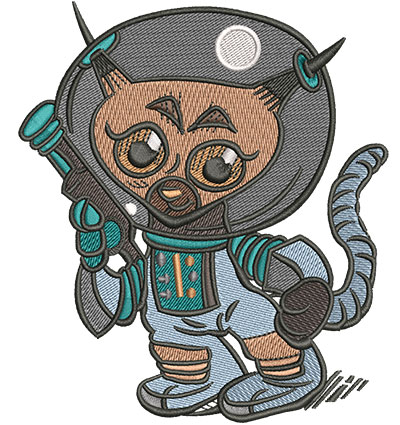 Embroidery Design: Space Cat Cartoon Lg3.97w x 4.51h