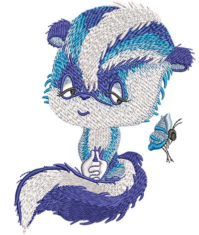 Embroidery Design: Blue Skunk Lg3.56w x 4.57h