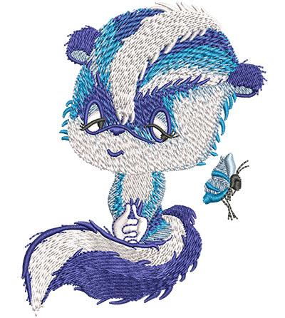 Embroidery Design: Blue Skunk Med3.16w x 4.06h