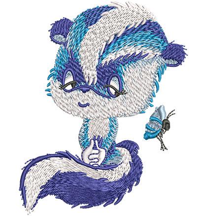 Embroidery Design: Blue Skunk Sm2.77w x 3.53h