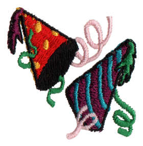 "Embroidery Design: Party Hats1.61"" x 1.51"""