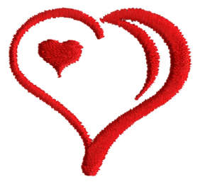 "Embroidery Design: Heart in Heart1.63"" x 1.47"""