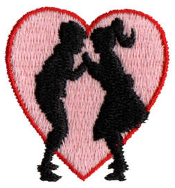 """Embroidery Design: Kids Kissing1.47"""" x 1.57"""""""