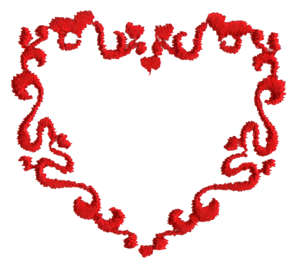 "Embroidery Design: Victorian Heart1.70"" x 1.51"""