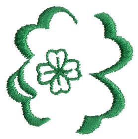 """Embroidery Design: Four Leaf Shamrock1.55"""" x 1.54"""""""