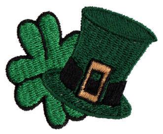 "Embroidery Design: Hat & Shamrock1.91"" x 1.53"""