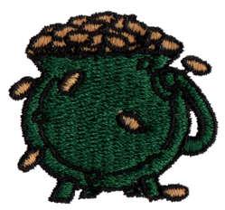 "Embroidery Design: Pot O' Gold1.42"" x 1.29"""