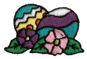 """Embroidery Design: Easter Eggs1.74"""" x 1.15"""""""