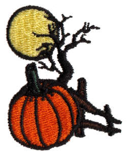 "Embroidery Design: Pumpkin Scene1.41"" x 1.73"""
