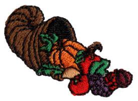"Embroidery Design: Horn of Plenty1.56"" x 1.10"""