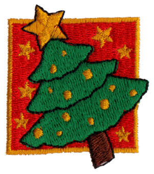 "Embroidery Design: Christmas Tree In Box1.72"" x 1.98"""
