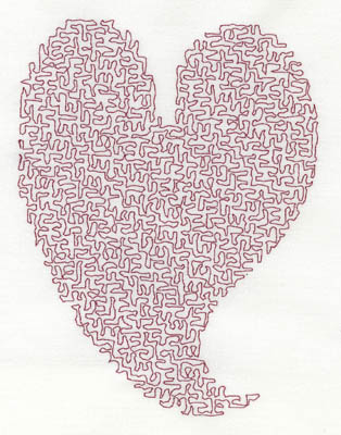 Embroidery Design: Stipple Stylistic Heart High 4.11w X 5.39h