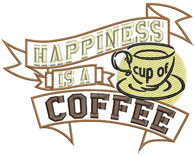 Embroidery Design: Happines is a cup of coffee5.50 X W=7.03