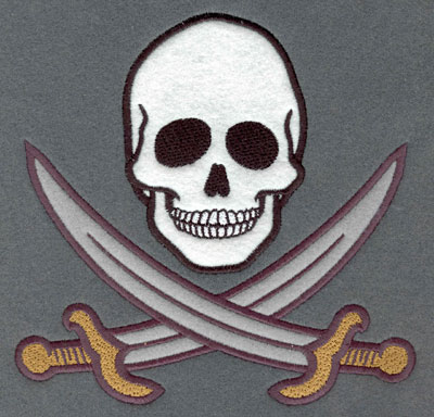 Embroidery Design: Skull and Cutlass Applique7.01w X 6.87h