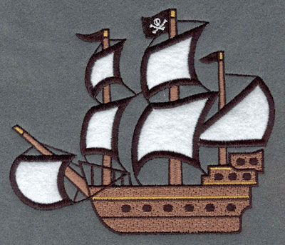 Embroidery Design: Pirate Ship with Applique5.97w X 5.05h