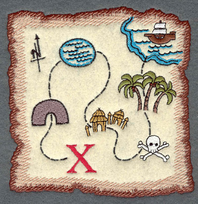 Embroidery Design: Treasure Map Applique5.33w X 5.44h