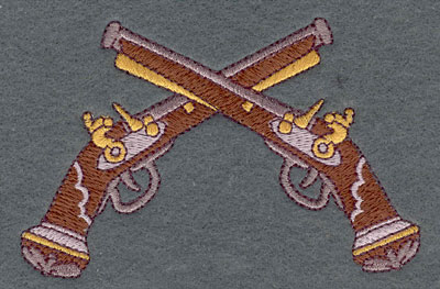 Embroidery Design: Muskets Crossed 4.44w X 2.86h