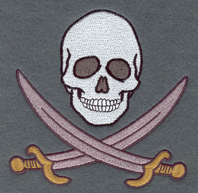 Embroidery Design: Skull with Crossed Cutlass Large5.05w X 5.04h