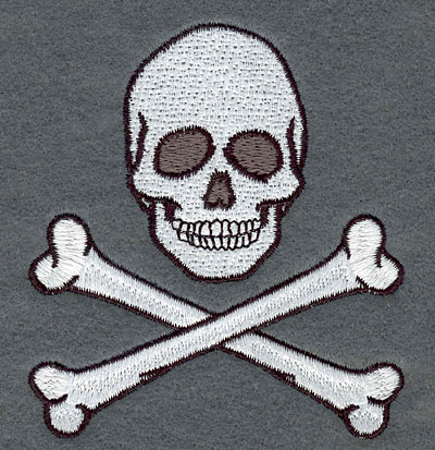 Embroidery Design: Skull with Crossed Bones Small3.19w X 3.56h