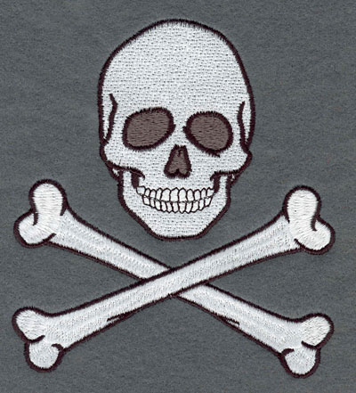 Embroidery Design: Skull with Crossed Bones Large4.78w X 5.32h