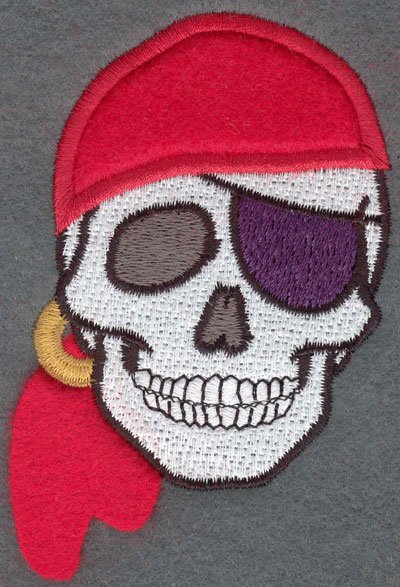 Embroidery Design: Pirate Skull with Bandana Loose Applique2.49w X 3.35h