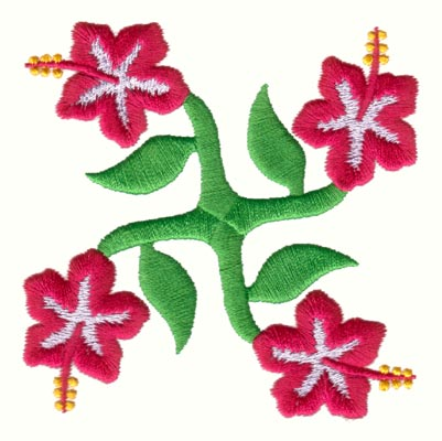 "Embroidery Design: Hawaiian Quilt B (small)3.29"" x 3.30"""