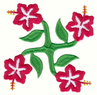"Embroidery Design: Hawaiian Quilt B (medium)4.93"" x 4.95"""