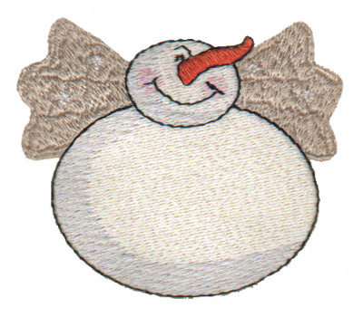 """Embroidery Design: Snowman with Wings 23.01"""" x 2.61"""""""