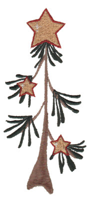 "Embroidery Design: Star Tree2.43"" x 5.38"""