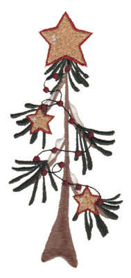 "Embroidery Design: Star Tree 22.43"" x 5.38"""