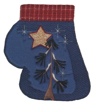 "Embroidery Design: Christmas Mitt4.90"" x 5.69"""