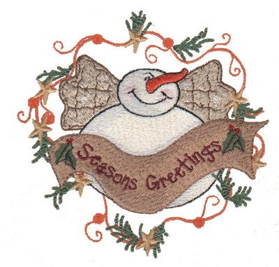 "Embroidery Design: Seasons Greetings4.56"" x 4.49"""
