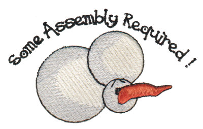 """Embroidery Design: Some Assembly Required melting Snowman4.14"""" x 2.52"""""""