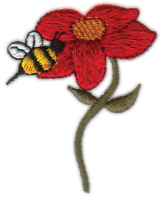 "Embroidery Design: Bee N' Flower1.99"" x 2.35"""