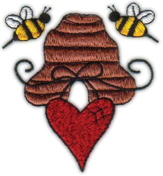 "Embroidery Design: Bees 'N Hive Hanging Heart2.94"" x 3.20"""