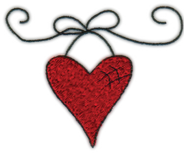 "Embroidery Design: Hanging Heart3.80"" x 3.13"""
