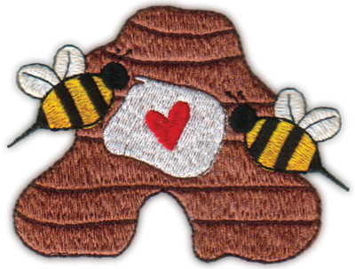 """Embroidery Design: Heart Bees 'N Hive4.18"""" x 3.18"""""""