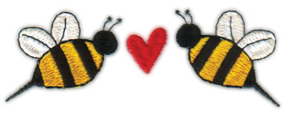 """Embroidery Design: Heart Bees (Larger)4.68"""" x 1.78"""""""