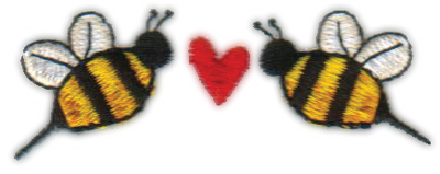 """Embroidery Design: Heart Bees (Smaller)2.76"""" x 1.07"""""""