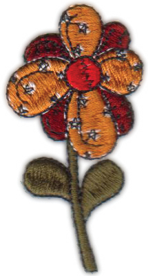 """Embroidery Design: Country Flower1.60"""" x 2.74"""""""